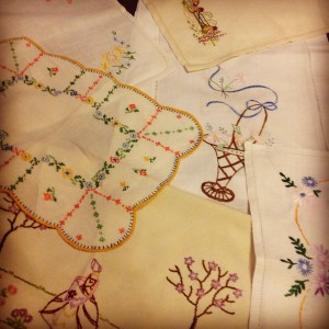 Vintage embroidered linen found at a thrift stall